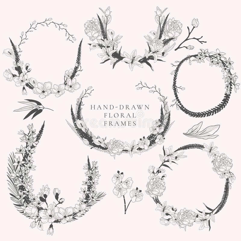 Vector Hand Drawn Wreaths with Florals and Plants vector illustration