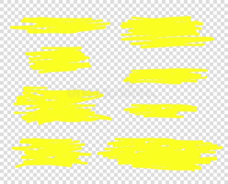 Vector hand drawn yellow marker or brush line. Selection elements, for design. Isolated background. Eps vector illustration