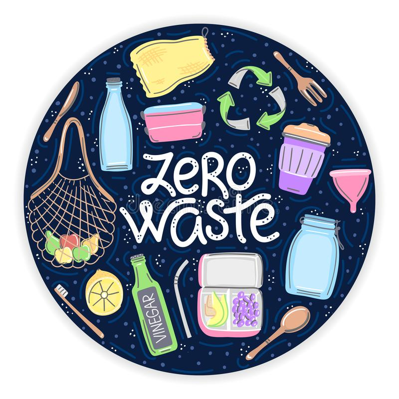 Vector hand drawn zero waste objects and lettering in round shape. Lifestyle. Save planet. It can be used for brochure, flyer, poster, banner, package, print vector illustration