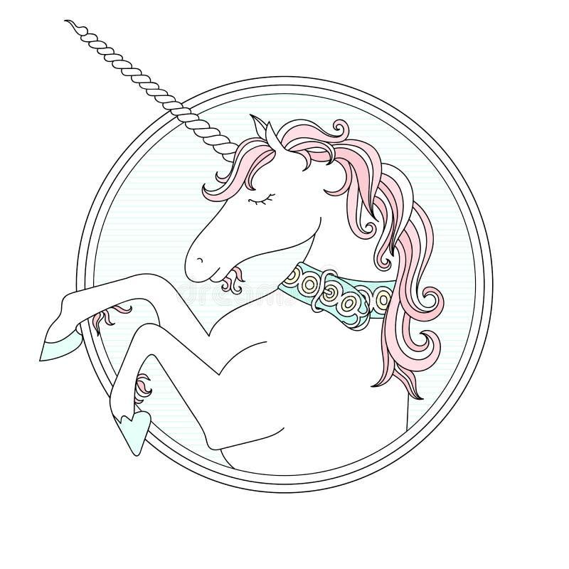 Vector hand drawn cute Unicorn. Vector hand drown cute Unicorn. Pastel colors royalty free illustration