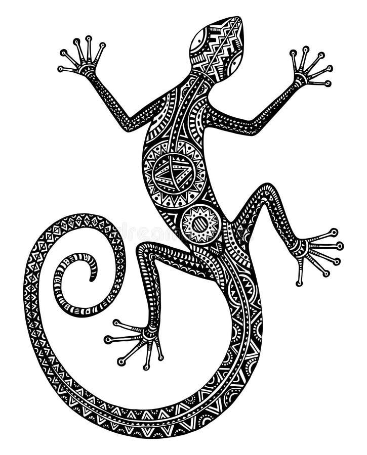 Vector Hand gezeichnete Eidechse oder Salamander mit ethnischem Stammes- Rüttler vektor abbildung