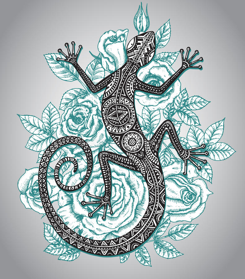 Vector Hand gezeichnete Eidechse oder Salamander mit ethnischem Stammes- Rüttler stock abbildung