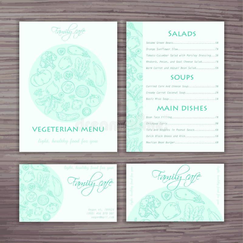 Vector Hand gezeichnete Gemüseschablone der Geschäftsart für Café Menü, Fahne und Visitenkarte vektor abbildung