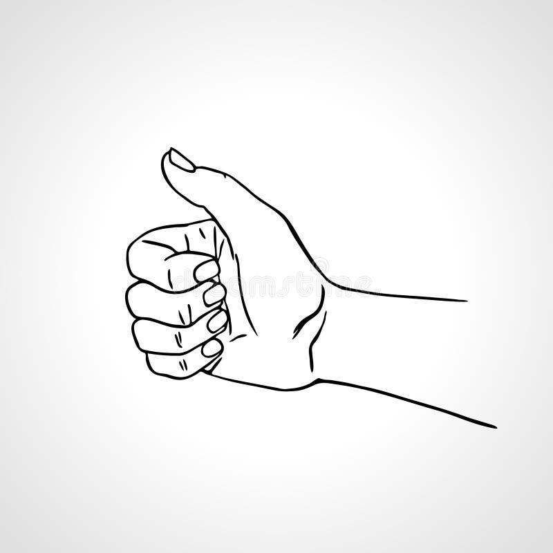 Vector Hand gezeichnete Hand mit dem Daumen oben, wie Zeichen, Zustimmungsgeste vektor abbildung