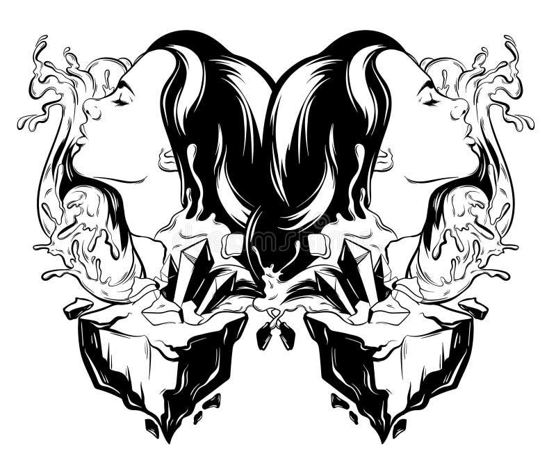 Vector Hand gezeichnete Illustration der hübschen Frau mit Wellen und Felsen vektor abbildung