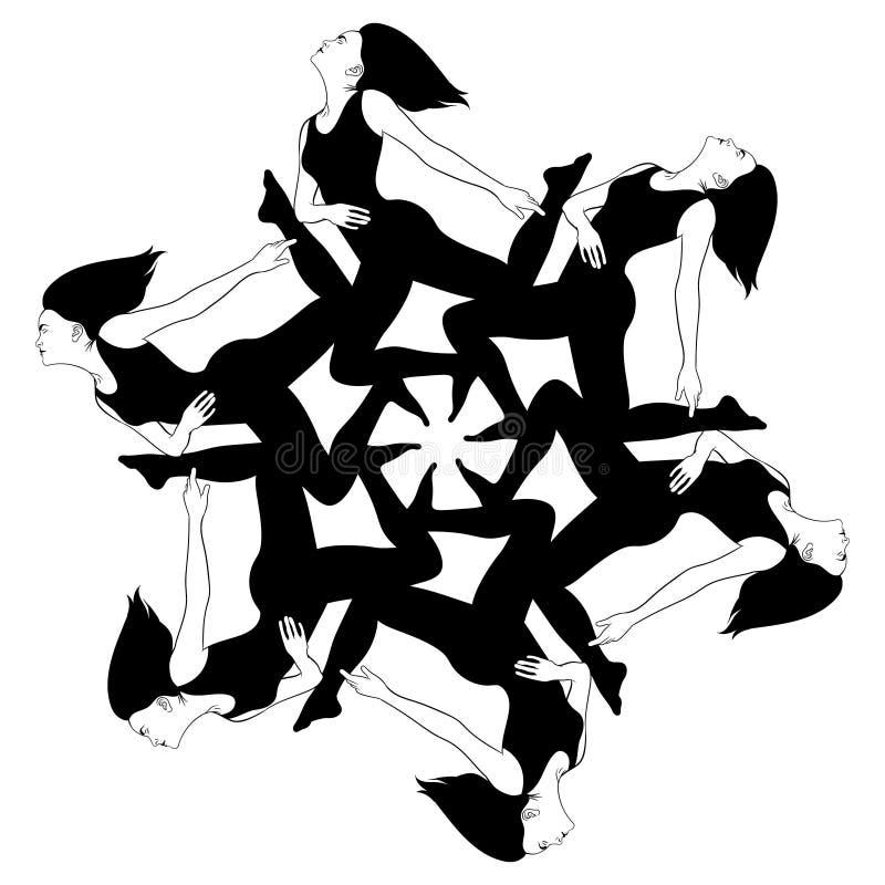 Vector Hand gezeichnete Illustration der Mädchen auf ihren Knien stock abbildung
