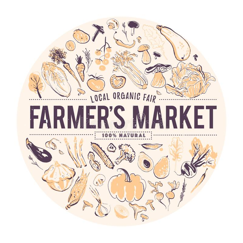 Vector Hand gezeichnete Illustration des frischen rohen Gemüses Laptop- und Blinkenleuchte Fahne für Lebensmittelmesse u. Landwir stock abbildung