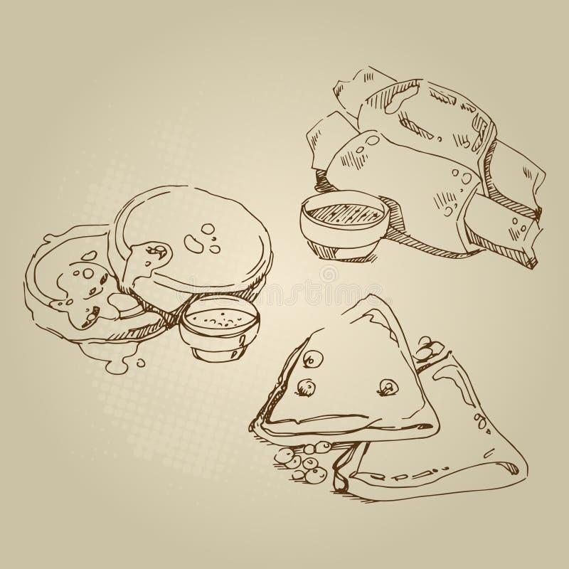 Vector Hand gezeichnete russische nationale traditionelle Küchenpfannkuchen der Lebensmittelskizze lizenzfreies stockfoto
