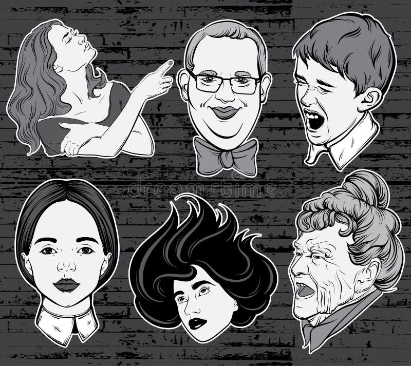 Vector Hand gezeichnete Sammlung Porträts, die in Comics stylw gemacht werden vektor abbildung