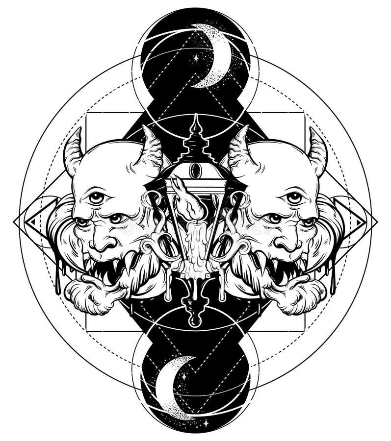 Vector Hand gezeichnete surreale Illustration des Teufels, der Weinleselaterne, des Mondes und der Sterne lizenzfreie abbildung