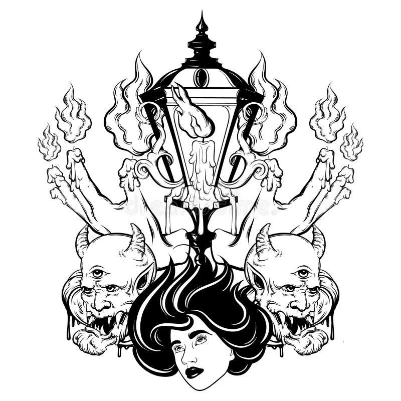 Vector Hand gezeichnete surreale Illustration von schmelzenden Händen, Frauengesicht, Teufel, Weinleselaterne lizenzfreie abbildung