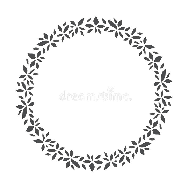 Vector Hand gezeichneten Blumenkranz, runden Rahmen mit Blättern lizenzfreie abbildung