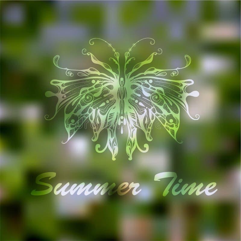 Vector Hand gezeichneten Schmetterling auf abstraktem Sommer-Grün-Hintergrund lizenzfreie abbildung