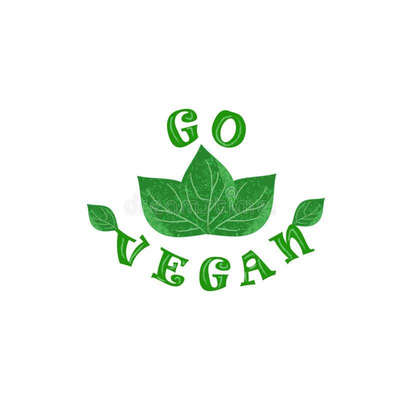 Vector Hand gezeichnetes Logo des strengen Vegetariers, Grünblätter stock abbildung