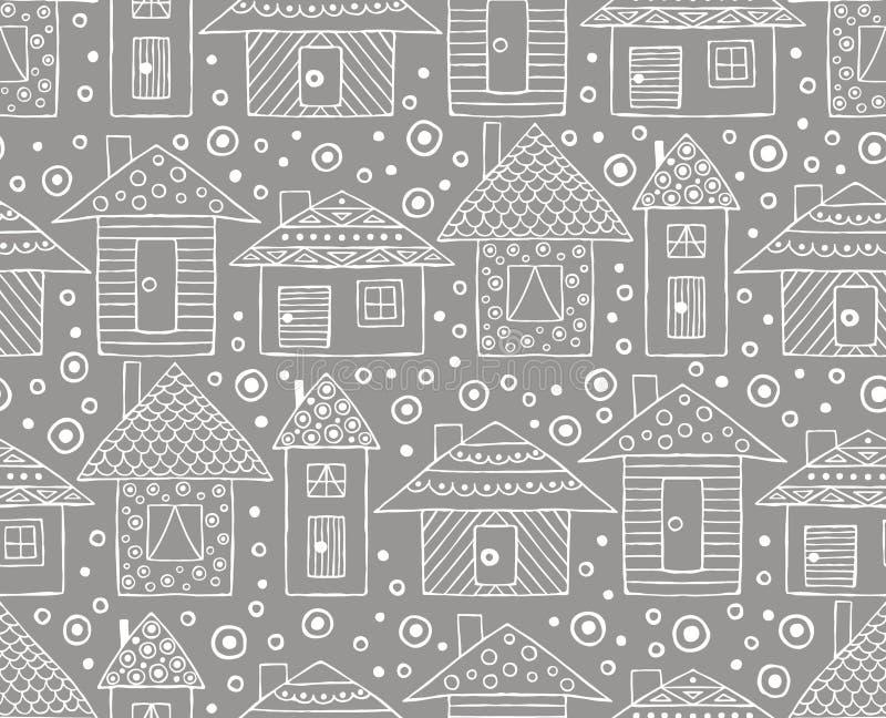 Vector Hand gezeichnetes nahtloses Muster, dekoratives stilisiertes kindisches Häuser Federzeichnung Gekritzelart, grafischer Ill stock abbildung
