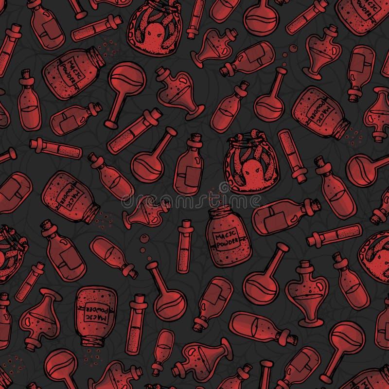 vector Hand gezeichnetes nahtloses Muster der roten Hexenflaschen auf dem dunkelgrauen Hintergrund Schließt Tränke, Elixiere und  lizenzfreie abbildung
