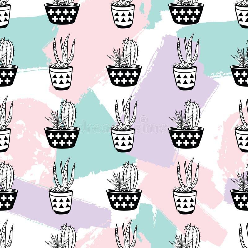 Vector Hand gezeichnetes nahtloses Muster mit geometrischem und bürsten Sie gemalte Elemente, Kakteen und Succulents in den Töpfe lizenzfreie abbildung