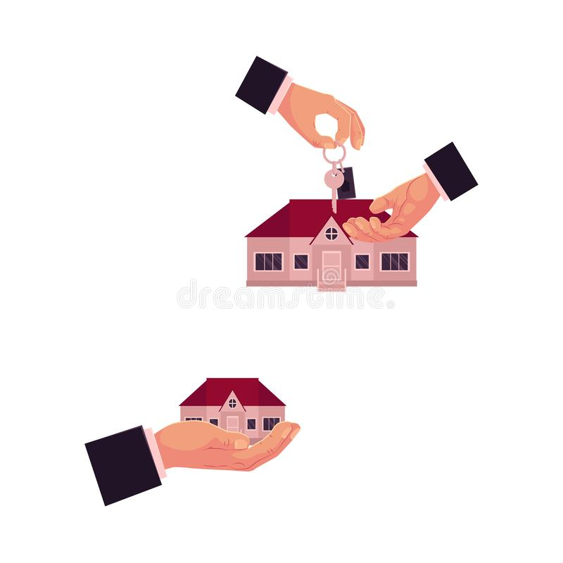 Vector hand gives the key of house to another hand stock illustration