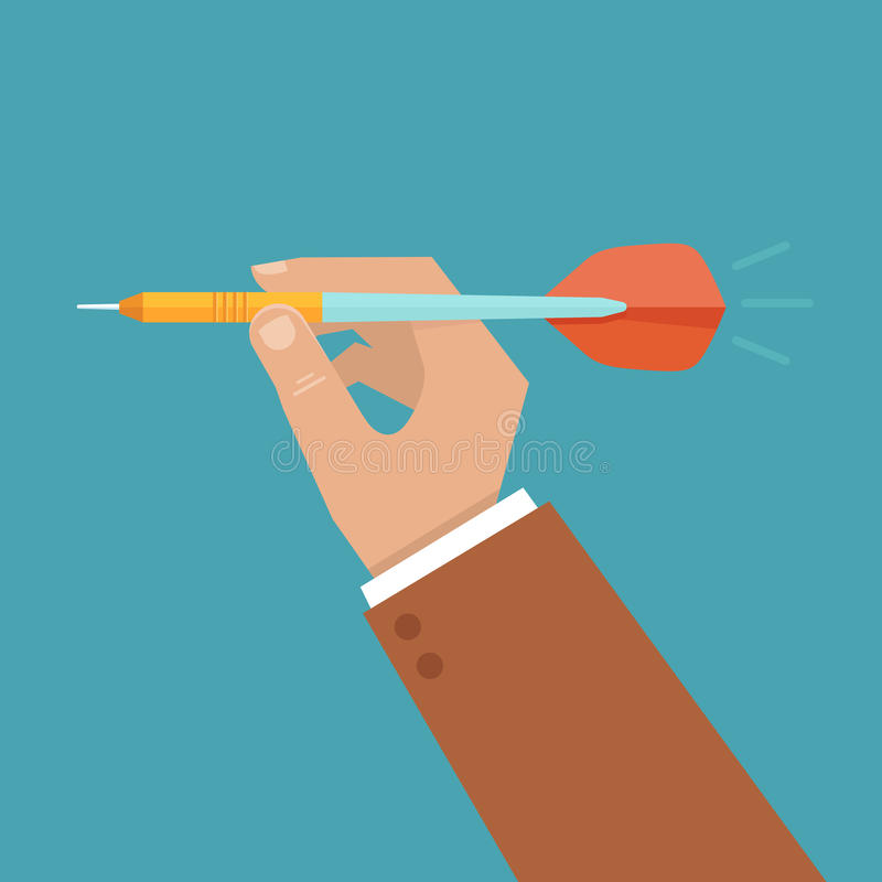 Vector hand holding dart. Aiming at the business target - illustration in flat style vector illustration