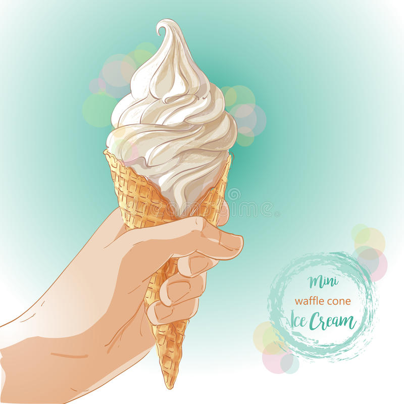 Vector Hand holding ice cream in waffle cone. Hand holding tasty ice cream in waffle cone. Vector watercolor illustration. Isolated objects on a white background stock illustration