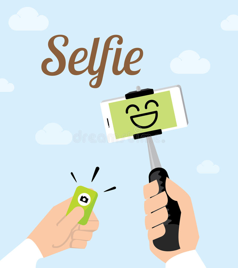Vector : Hand holding selfie monopod stick and other hand click royalty free illustration