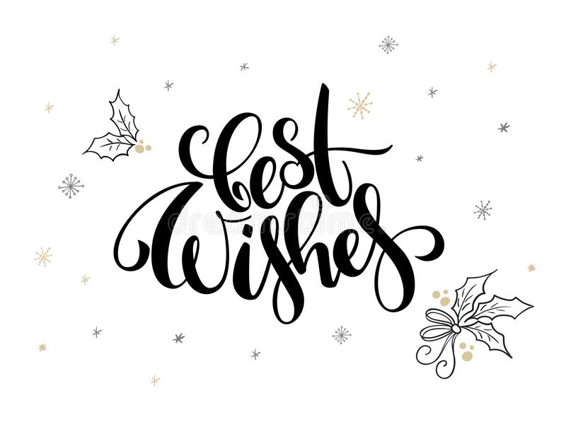 Vector hand lettering christmas greetings text best wishes with download vector hand lettering christmas greetings text best wishes with holly leaves and snowflakes m4hsunfo