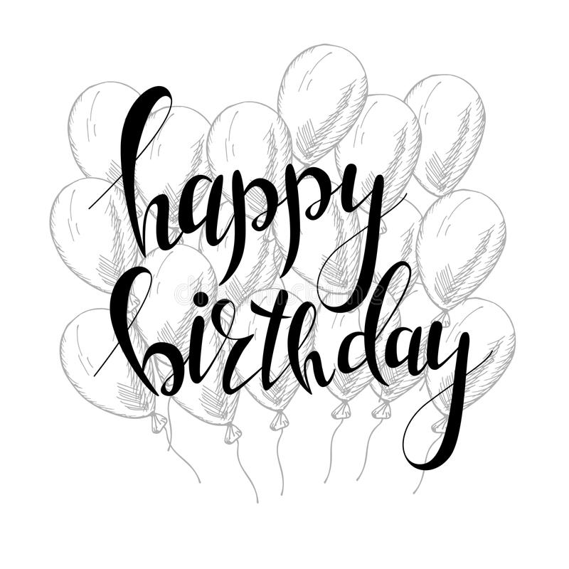Vector Hand Lettering. Happy Birthday Greeting Card With