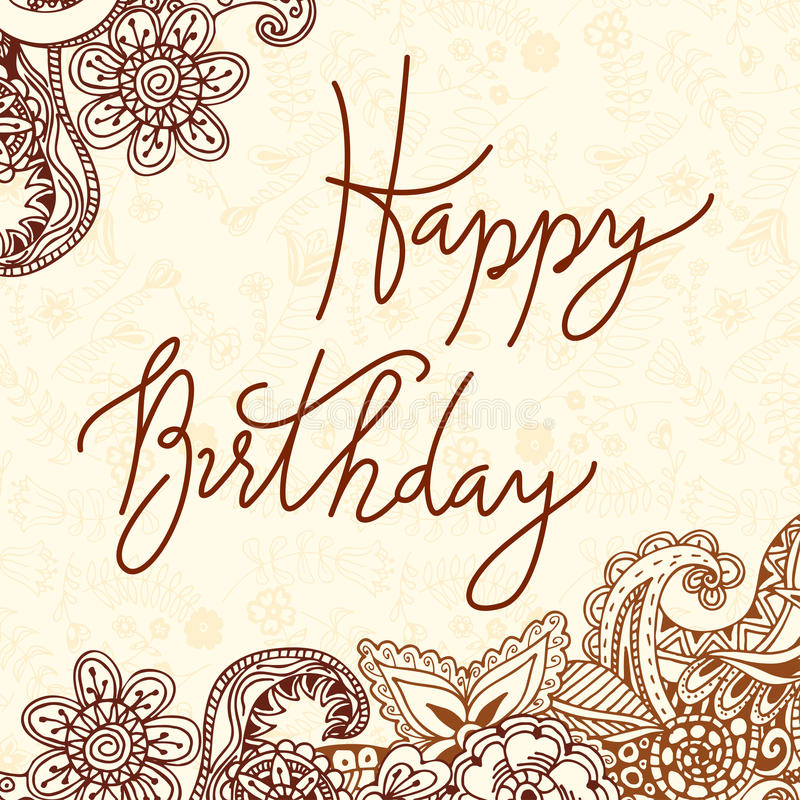 Vector hand lettering happy birthday greeting card with