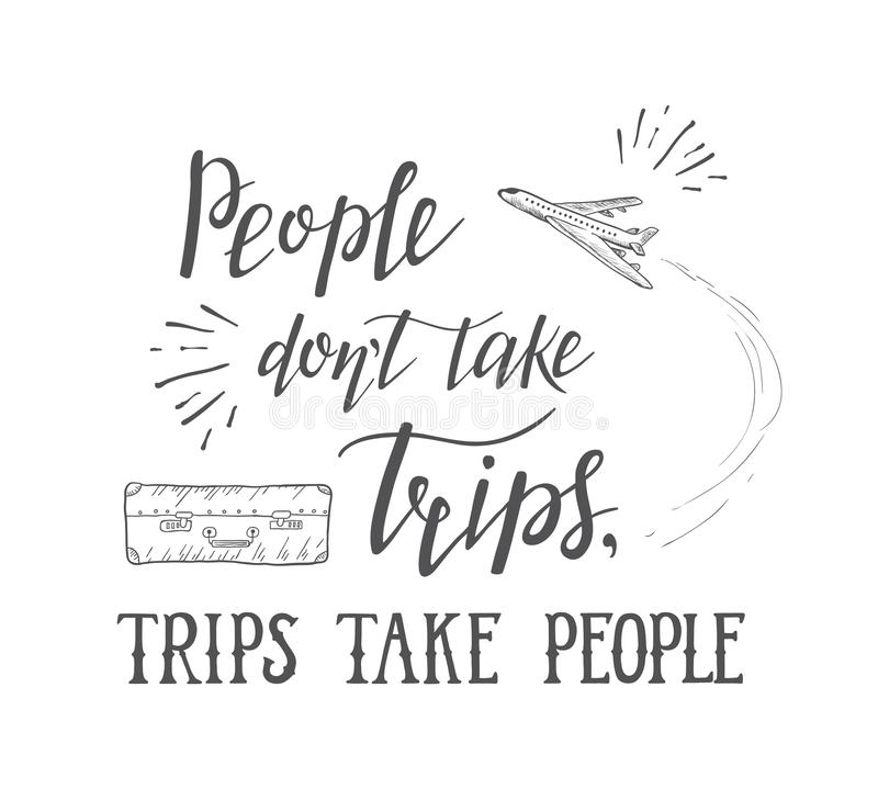 Vector hand lettering quote of travel and air plane. vector illustration