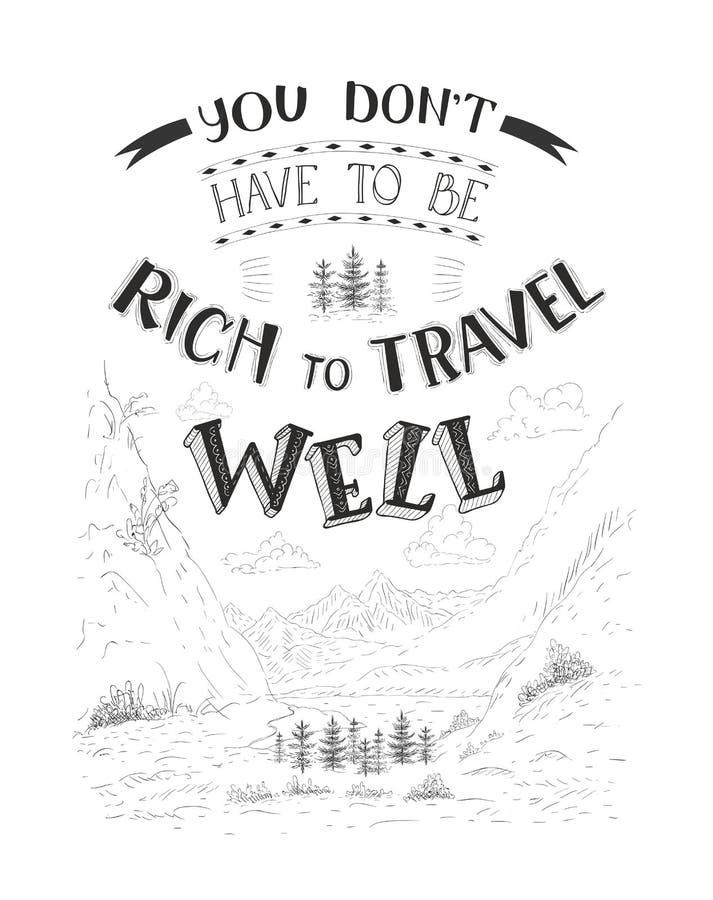 Vector hand-lettering quote of travel. Motivation slogan. stock illustration