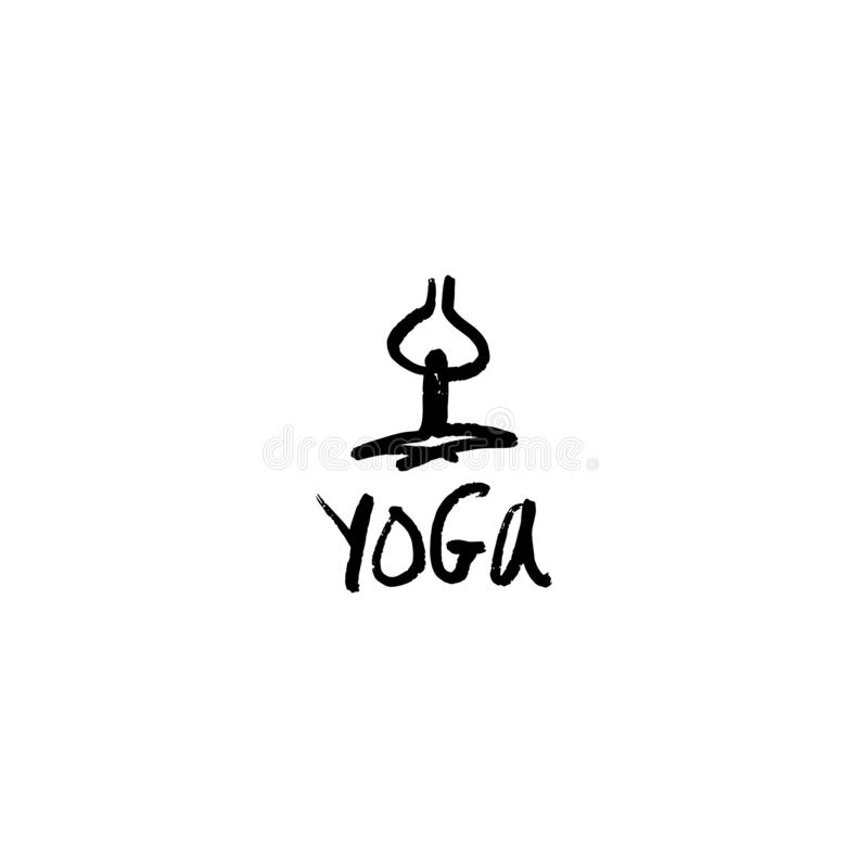 Vector hand lettering sketchy yoga logo, lifestyle and fitness concept, illustration for motivation posters. Good for mugs, t-shirts and social media post royalty free illustration