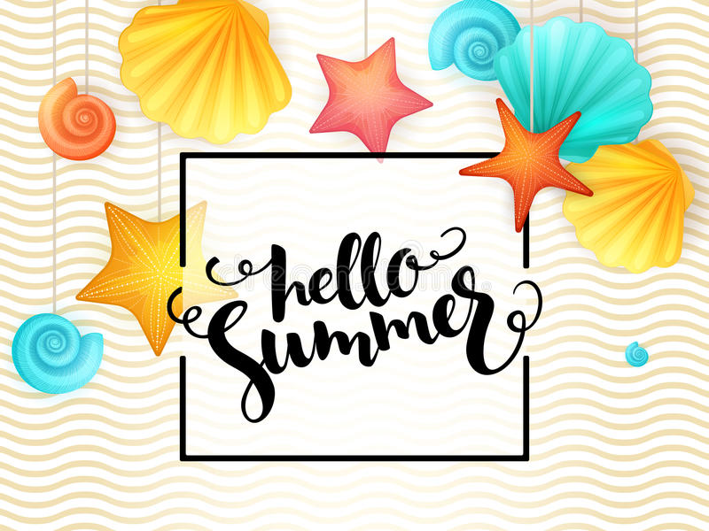 Vector hand lettering summer phrase - hello summer - surrounded with hanging seashells and frame on wave background vector illustration