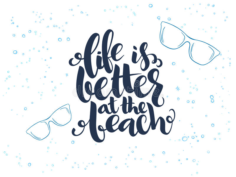 Vector hand lettering summer text about sea with doodle sun glasses and bubbles royalty free illustration