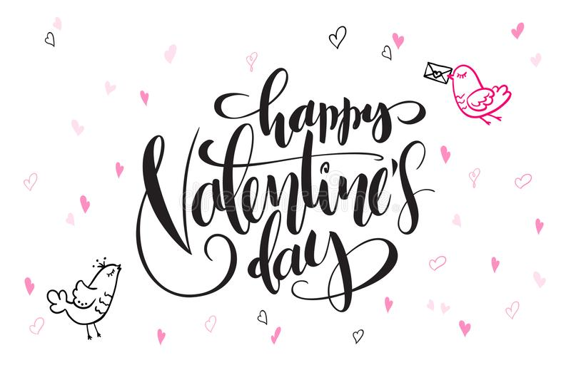 Vector hand lettering valentine`s day greetings text - happy valentine`s day - with heart shapes and birds royalty free illustration