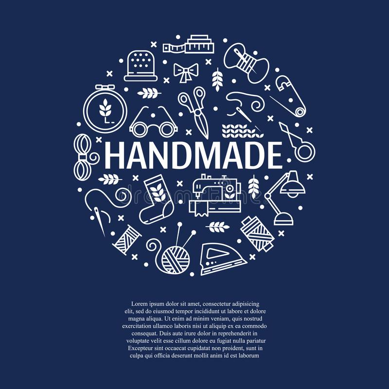 Vector Hand made icons set stock illustration