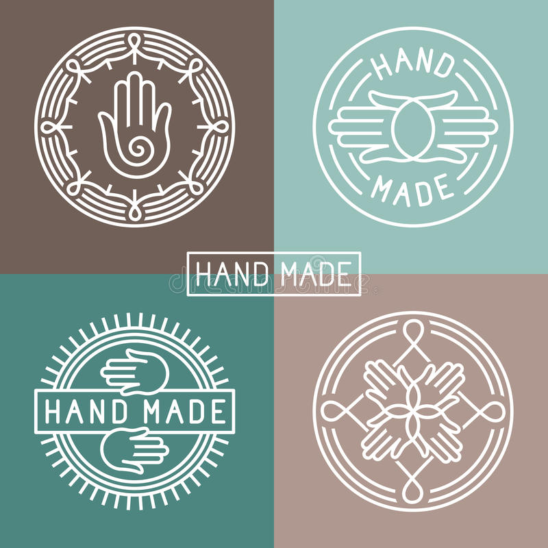 Vector hand made label in outline trendy style vector illustration