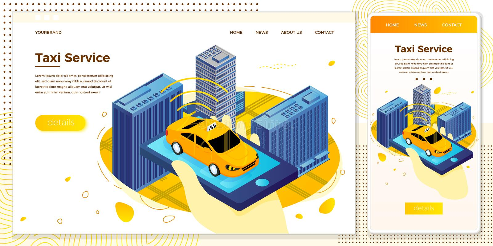 Vector hand with mobile phone, searching for taxi. Vector cross platform illustration set, browser and mobile phone - hand with mobile phone, searching for taxi vector illustration