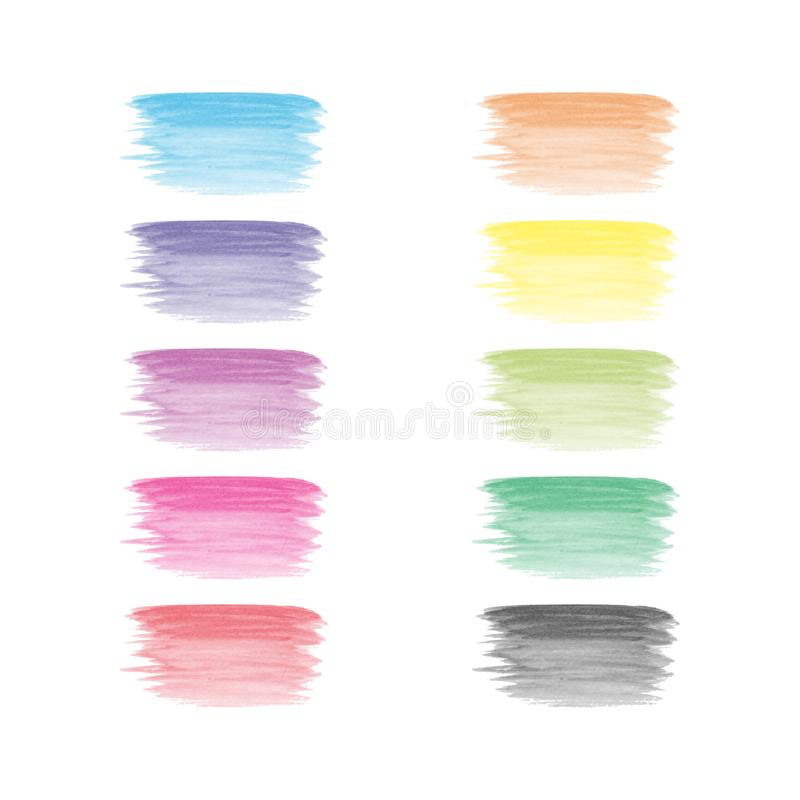 Vector hand painted watercolor painting brush strokes - full spectrum rainbow colored stain isolated on white background royalty free illustration