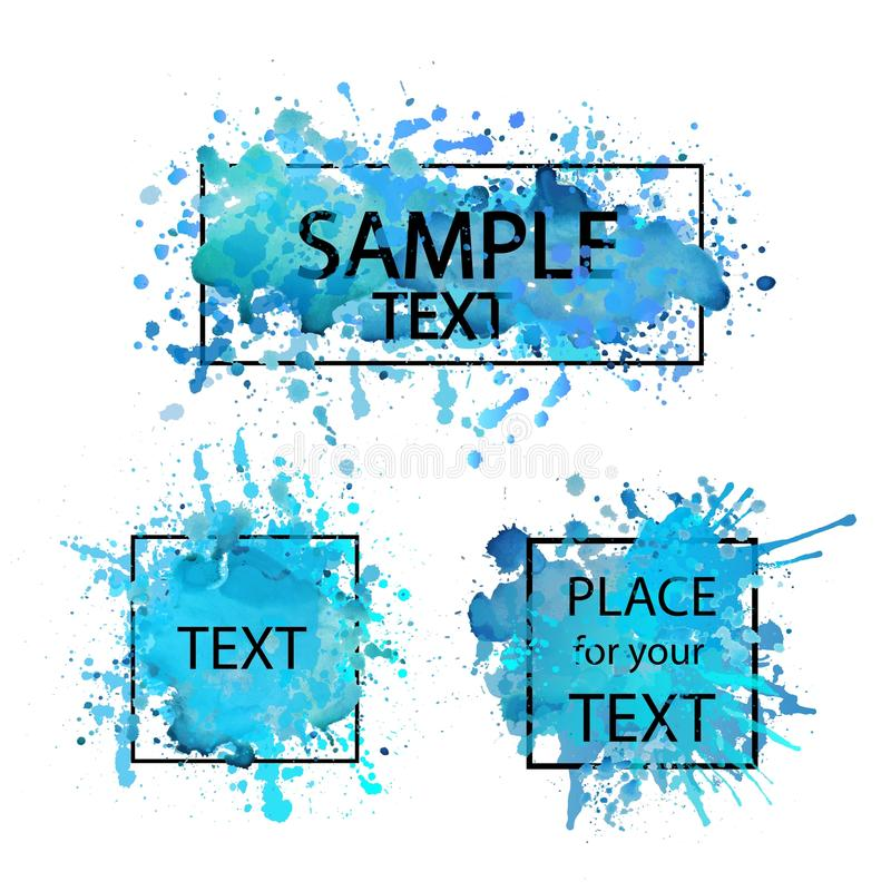 Vector hand painted blue watercolor background template. Place for text, quote. Creative artistic paint stains and drops stock illustration