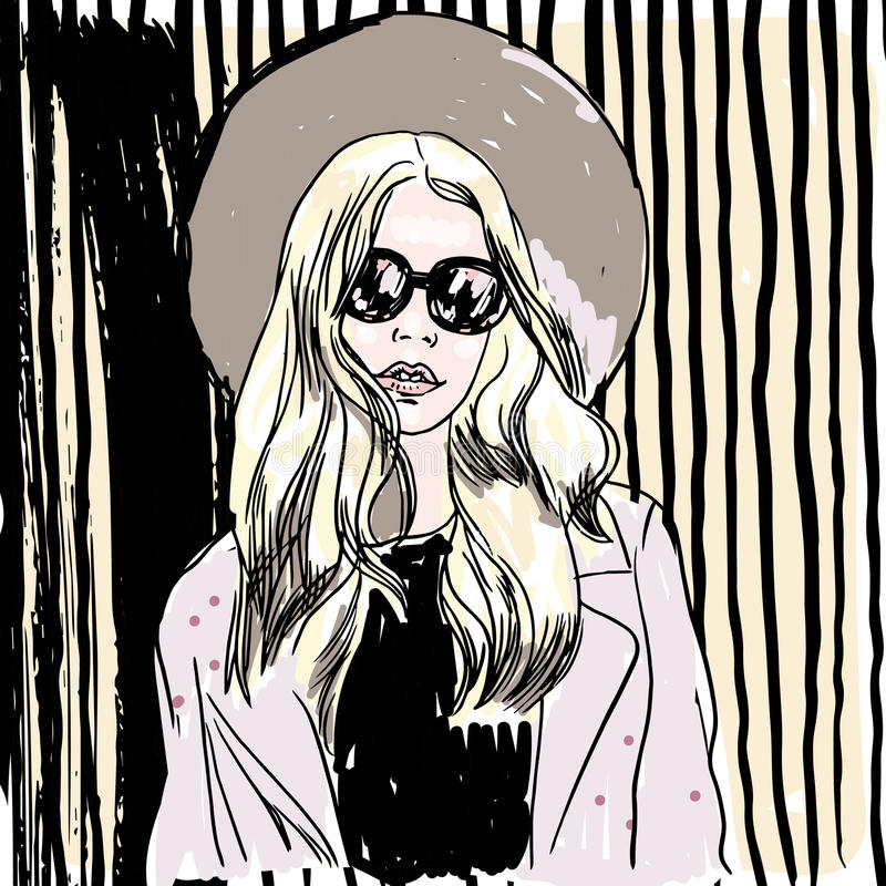 Vector hand painted sketch, fashion illustration with model. Vector hand-painted sketch, fashion illustration with model royalty free illustration