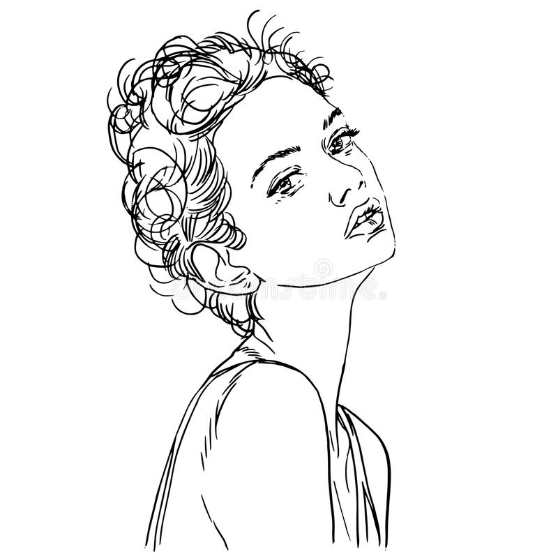 Vector hand painted sketch, fashion illustration with model. Vector hand-painted sketch, fashion illustration with model stock illustration
