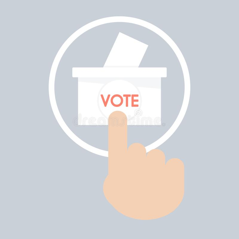 Vector of hand pressing a button with the text vote icon. ballot royalty free stock images