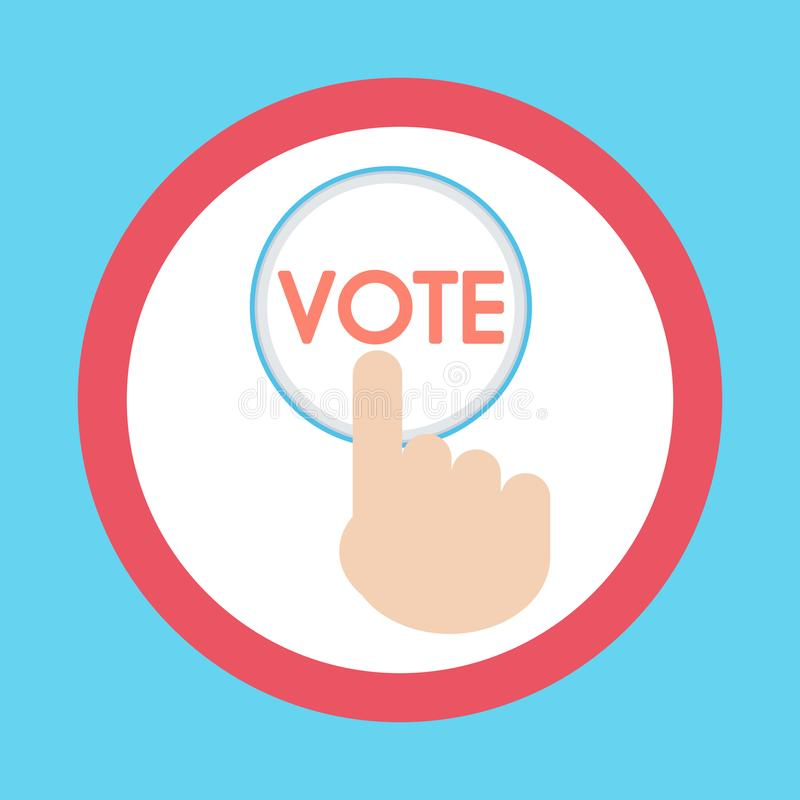 Vector of hand pressing a button with the text vote icon. ballot royalty free stock photo