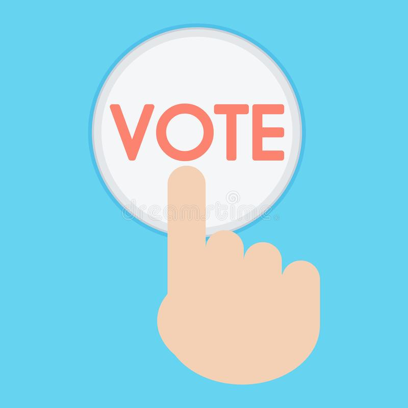Vector of hand pressing a button with the text vote icon. ballot stock photo