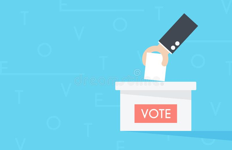 Vector of hand putting paper in the ballot box. Voting concept. stock photo