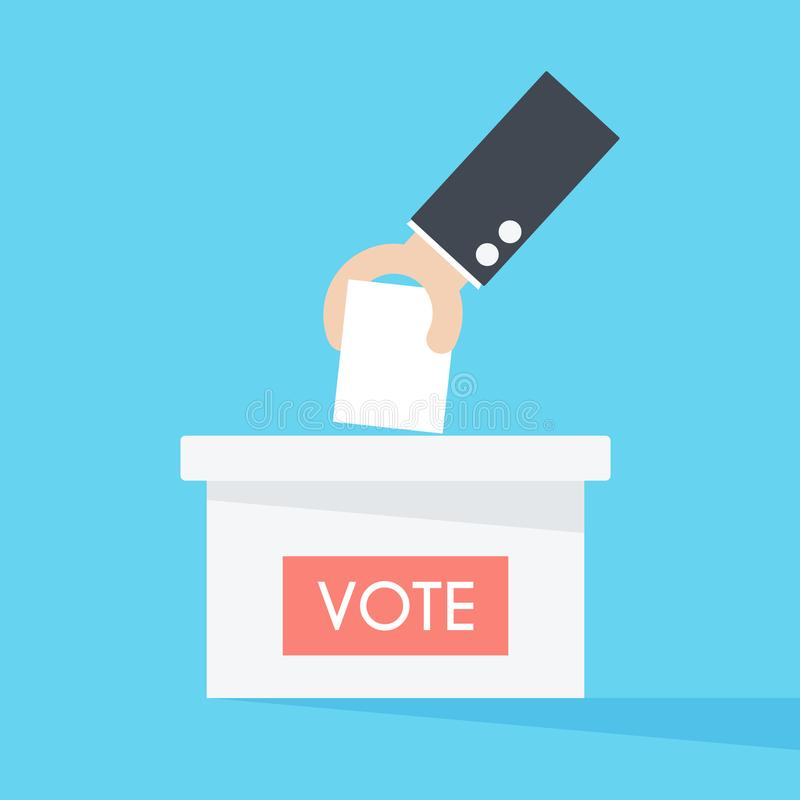 Vector of hand putting paper in the ballot box. Voting concept. stock illustration