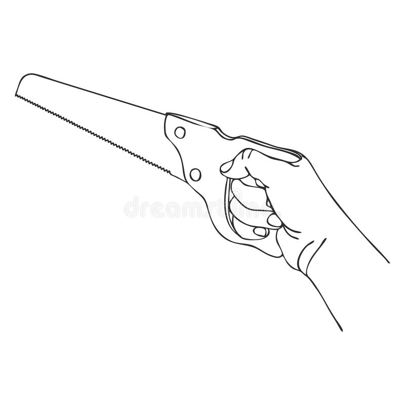 Vector hand with saw. Hand drawn line illustration stock illustration