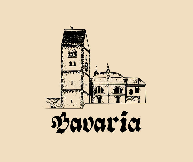 Vector hand sketched bavarian architecture symbol. Illustration with tourist sight of Germany for postcards, posters.  stock illustration