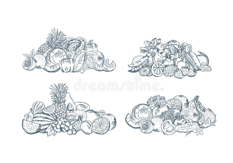 Vector hand sketched fruits and vegetables piles set isolated on white background vector illustration