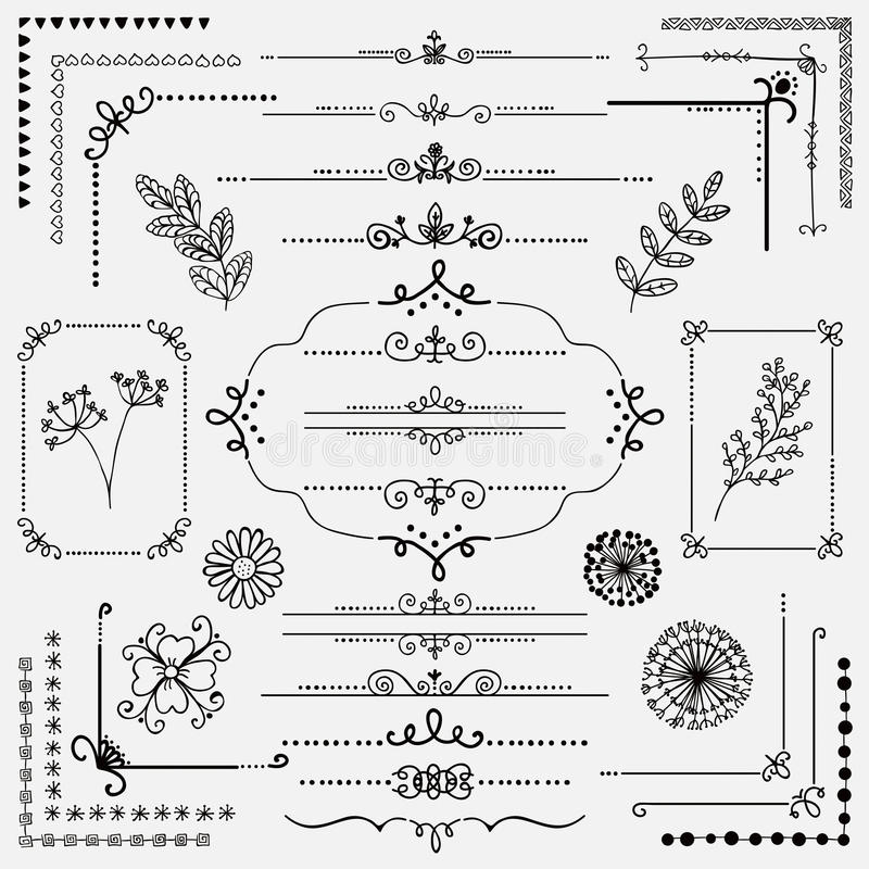 Vector Hand Sketched Rustic Design Elements, Dividers vector illustration
